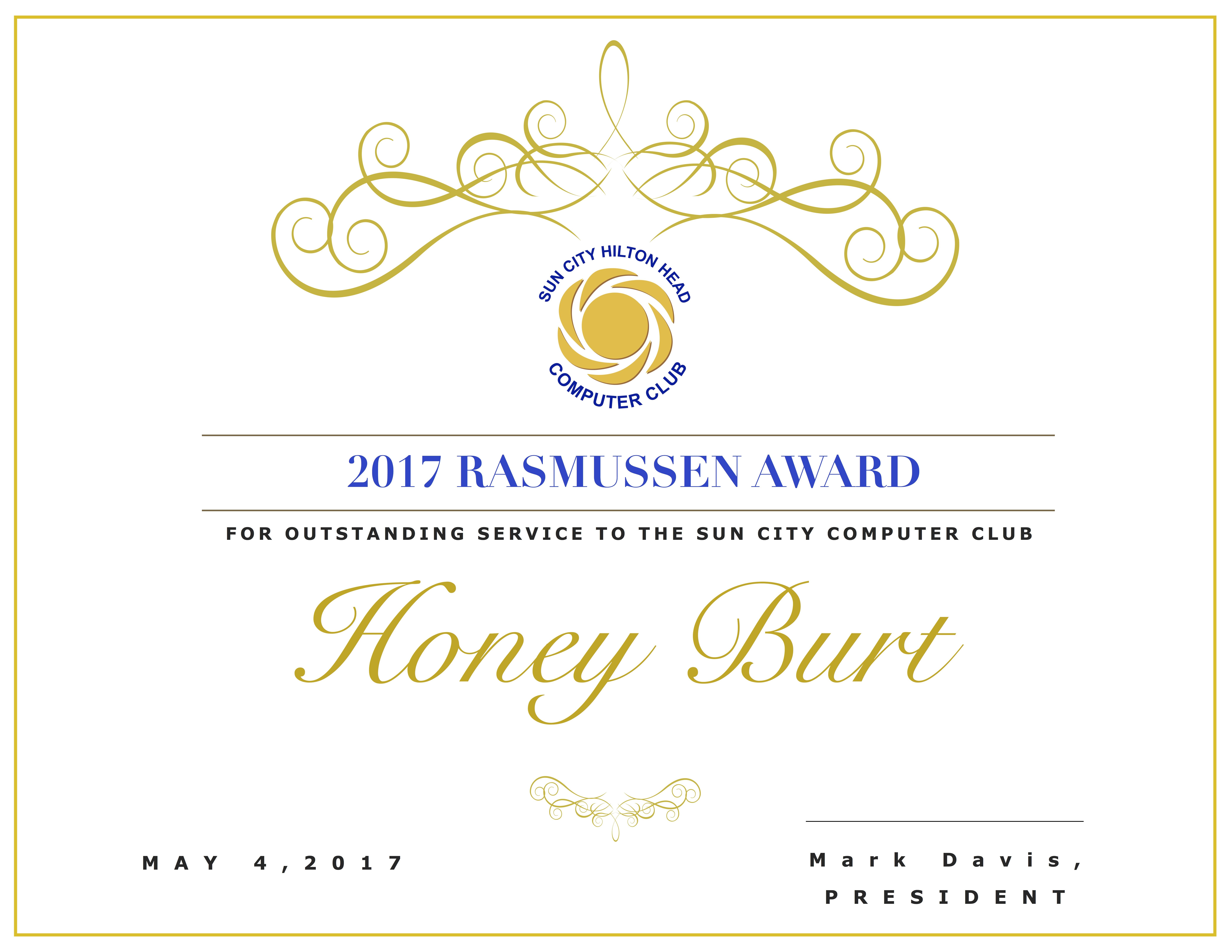 Rasmussen Certificate Honey