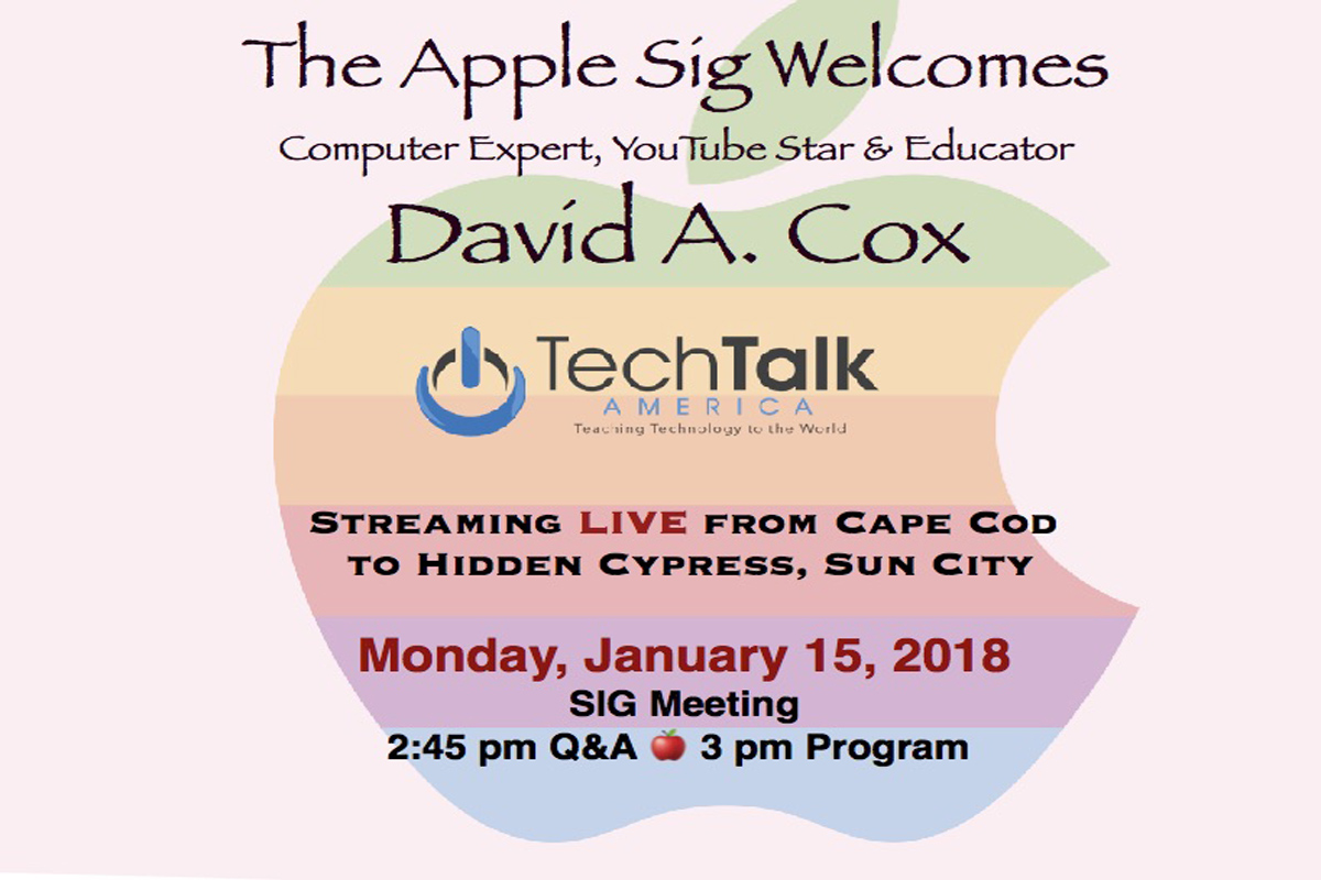 Join us for this very special meeting featuring David A. Cox