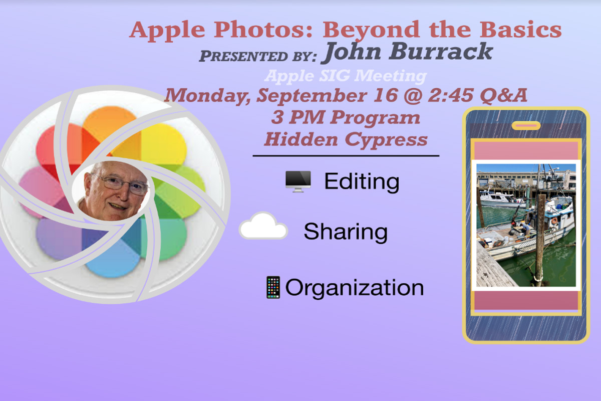 Join photographer and Apple user John Burrack as he explores his work flow for his photos using Apple Photos.